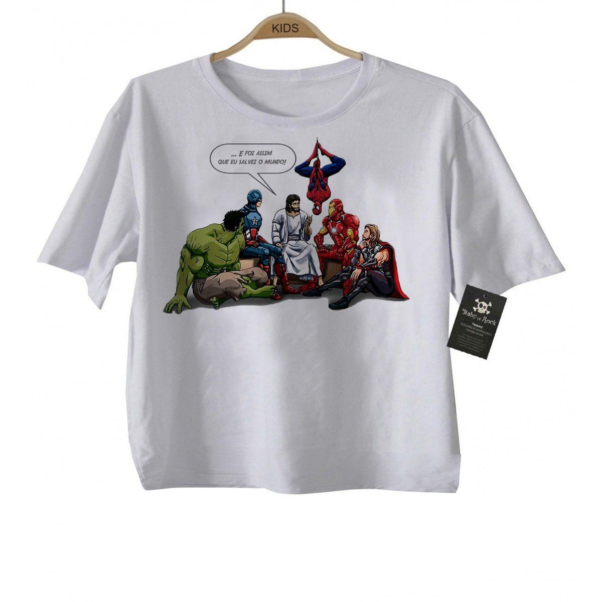 Camiseta Body Bebe Jesus e os Vingadores  - White  - Baby Monster - Body Bebe