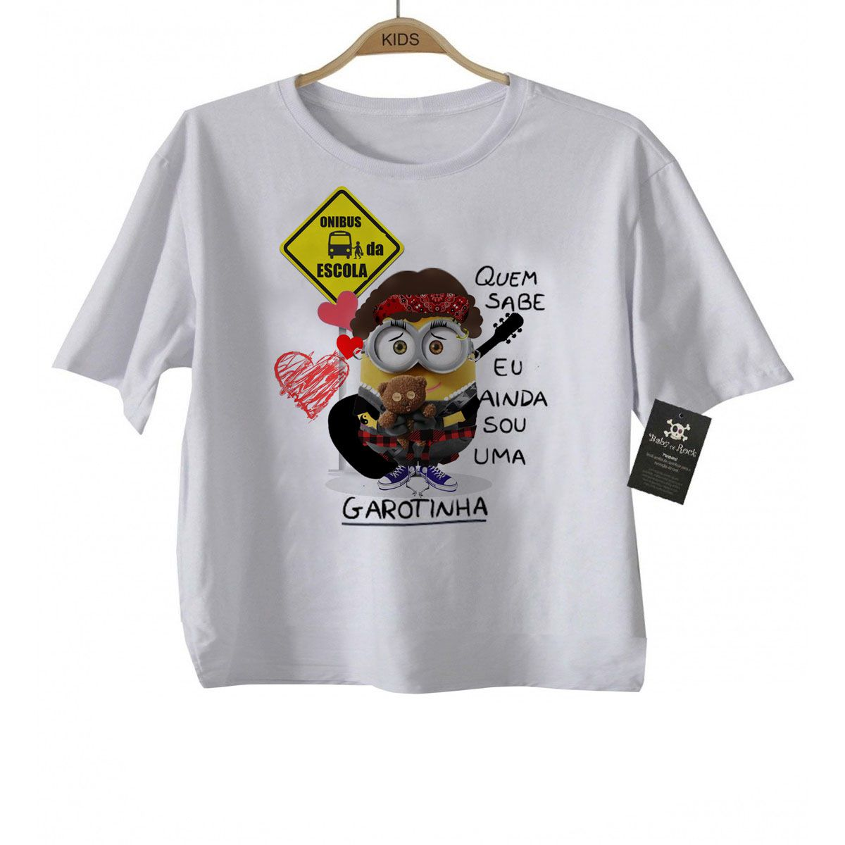 Camiseta  Cassia Eller Minions - White  - Baby Monster - Body Bebe