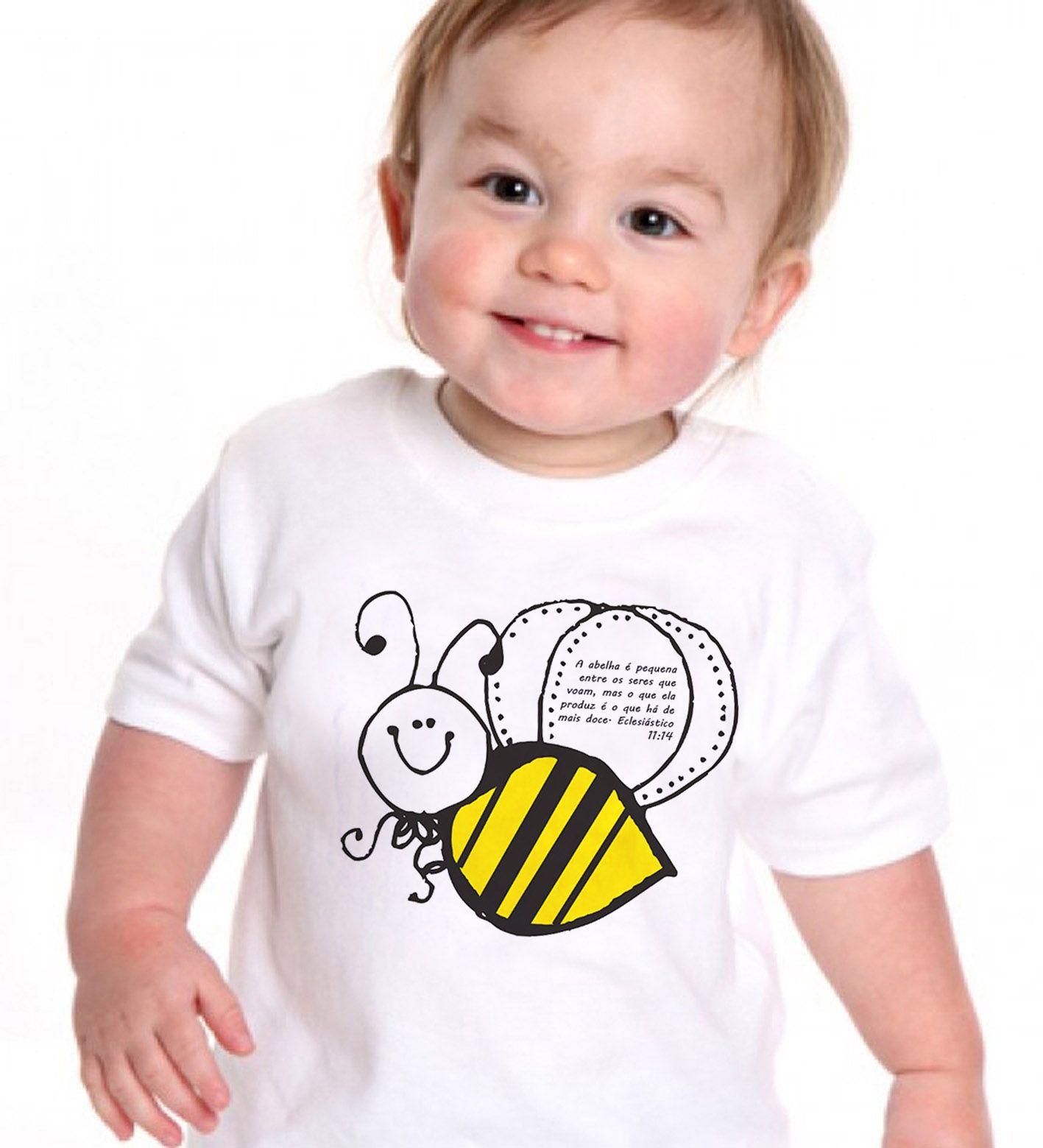 Camiseta  Cristã  Abelha de Deus - white  - Baby Monster S/A