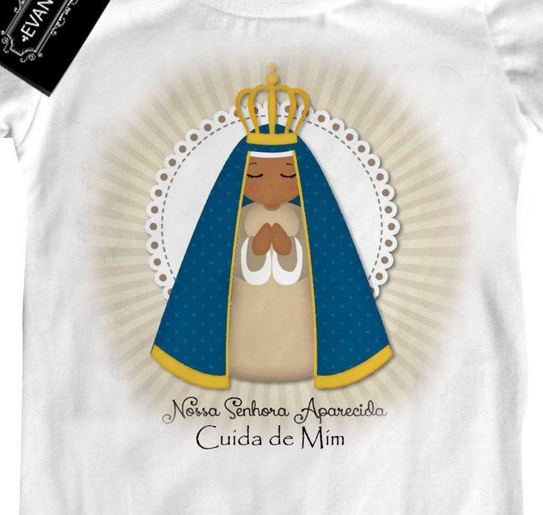 Camiseta  Cristã  Nossa Senhora cuida de mim - white  - Baby Monster - Body Bebe