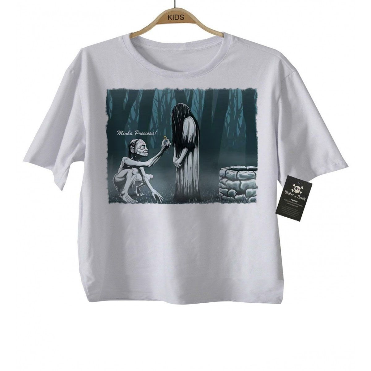 Camiseta  de Filmes o Chamado e o Sr. dos Aneis Terror Cute - White  - Baby Monster - Body Bebe