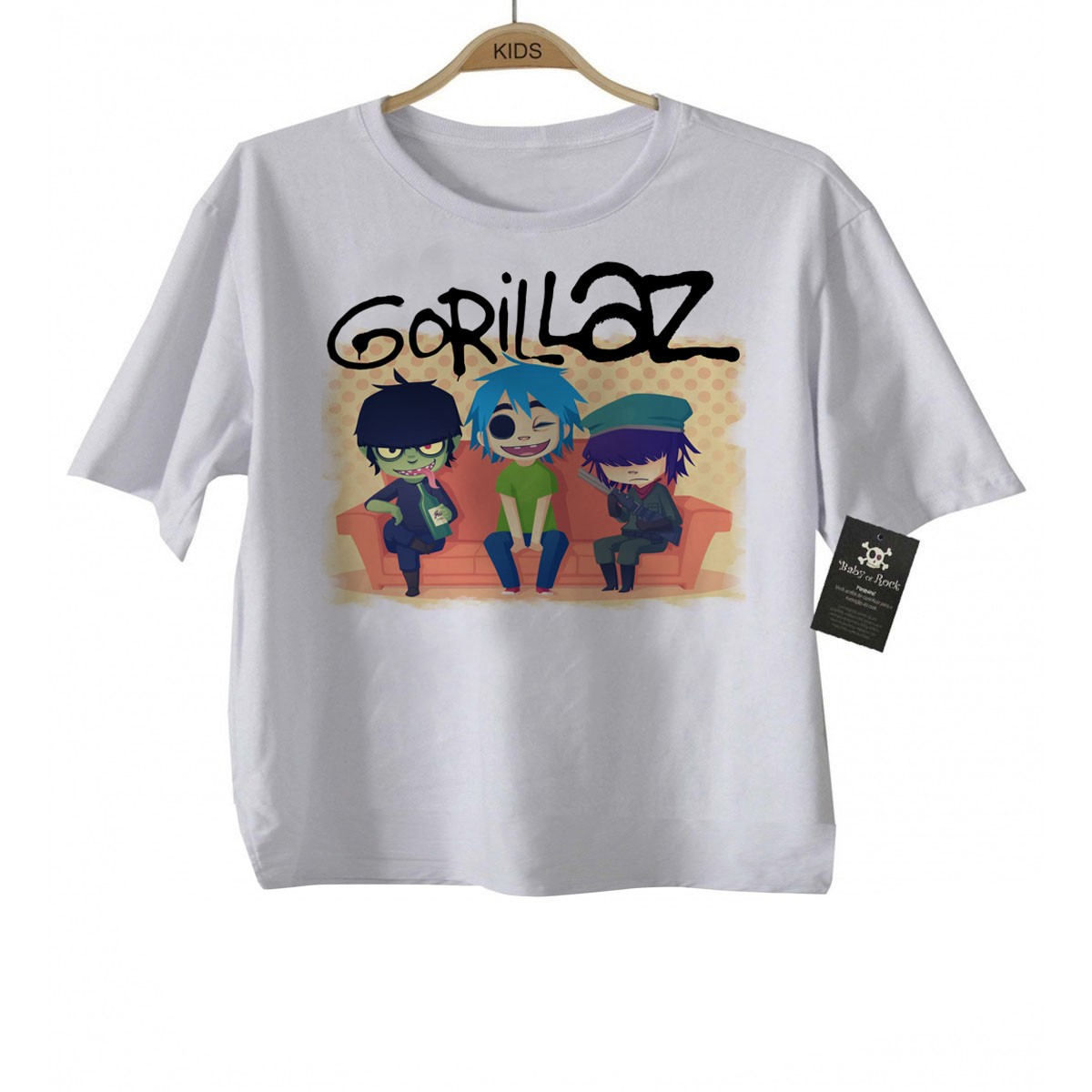 Camiseta de Rock Gorillaz - White  - Baby Monster - Body Bebe