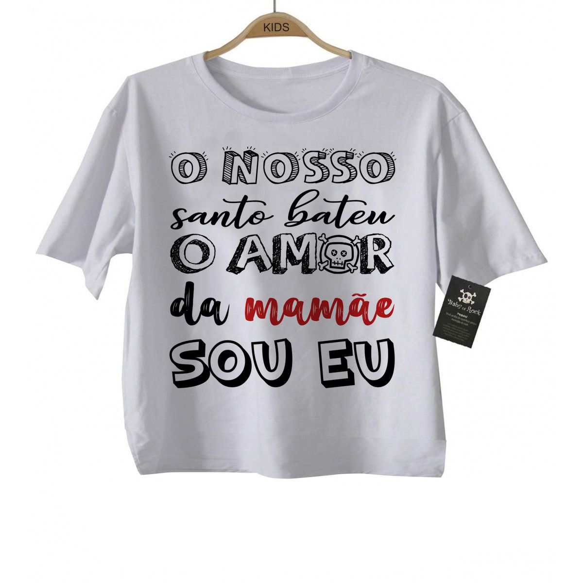 Camiseta de Rock Infantil -  Amor da Mamãe- White   - Baby Monster - Body Bebe