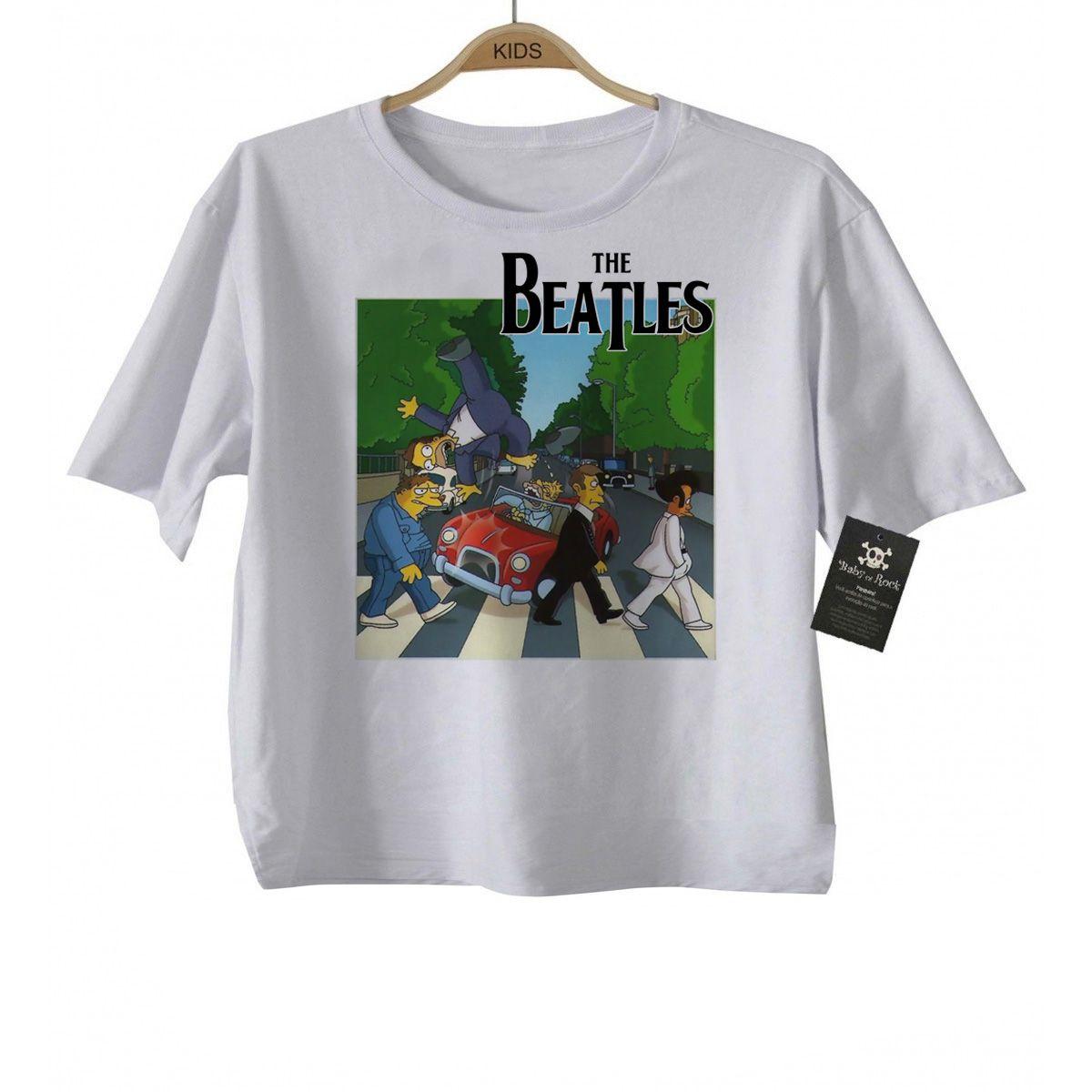 Camiseta de Rock  Infantil Beatles Homer Car - White  - Baby Monster S/A
