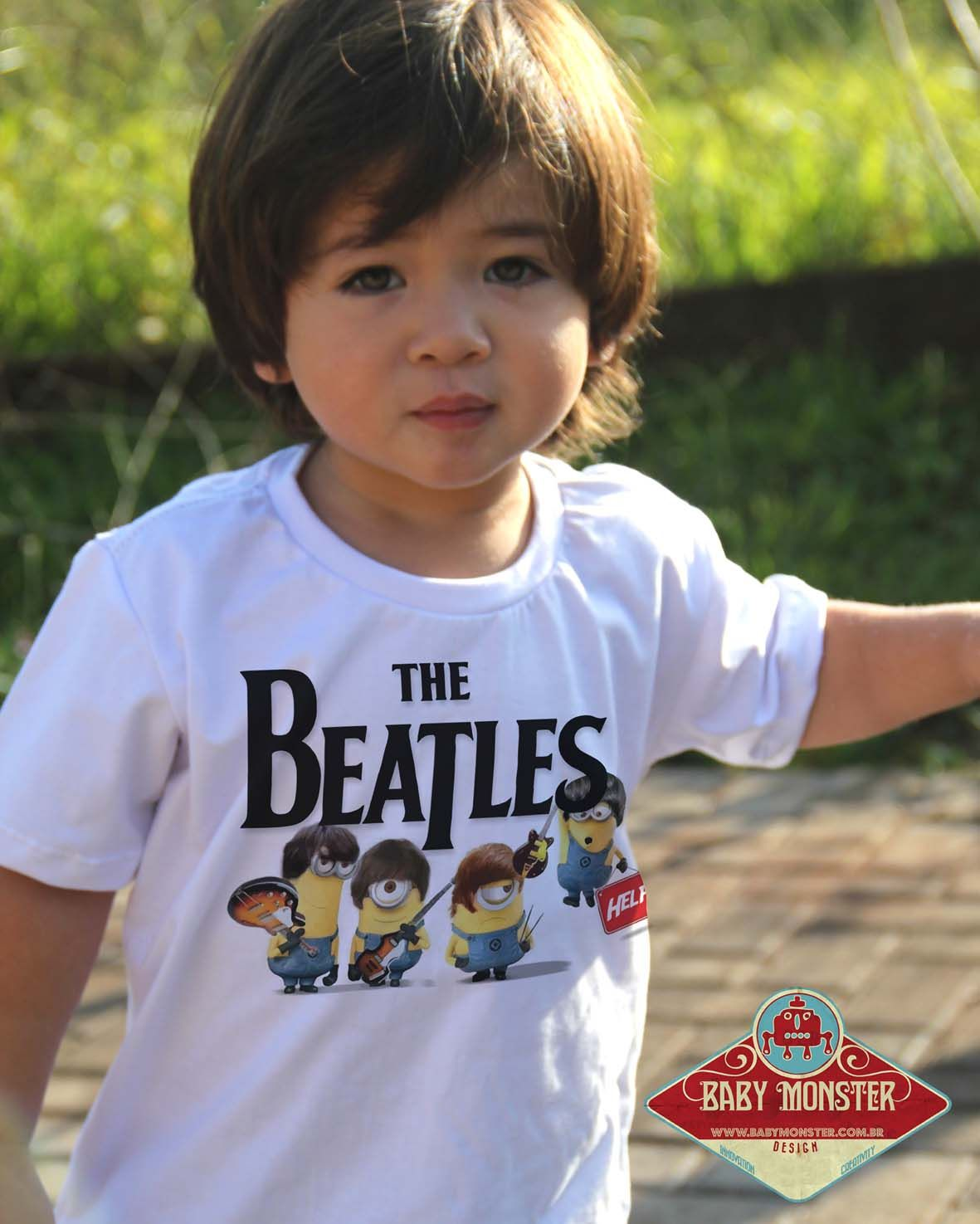 Camiseta de Rock  Infantil Beatles - Minions - White  - Baby Monster - Body Bebe