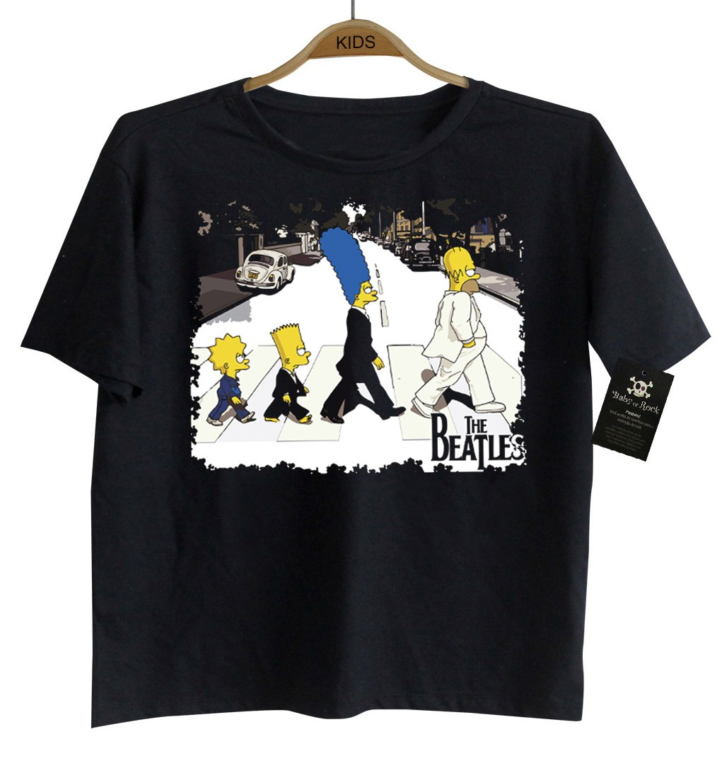 Camiseta de Rock Infantil - Beatles - SImpsons - Black  - Baby Monster S/A