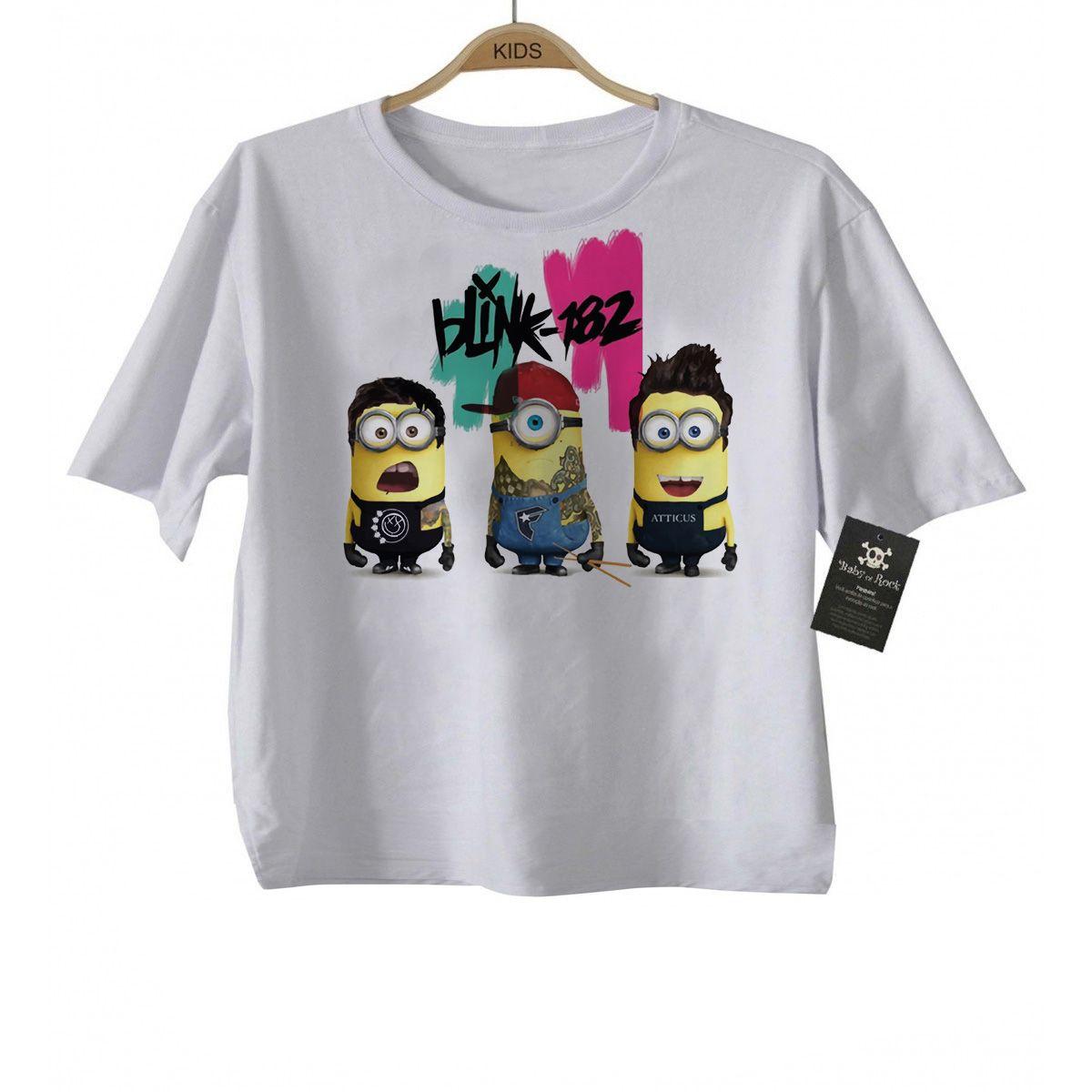 Camiseta de Rock infantil Blink 182 Minions - White  - Baby Monster - Body Bebe