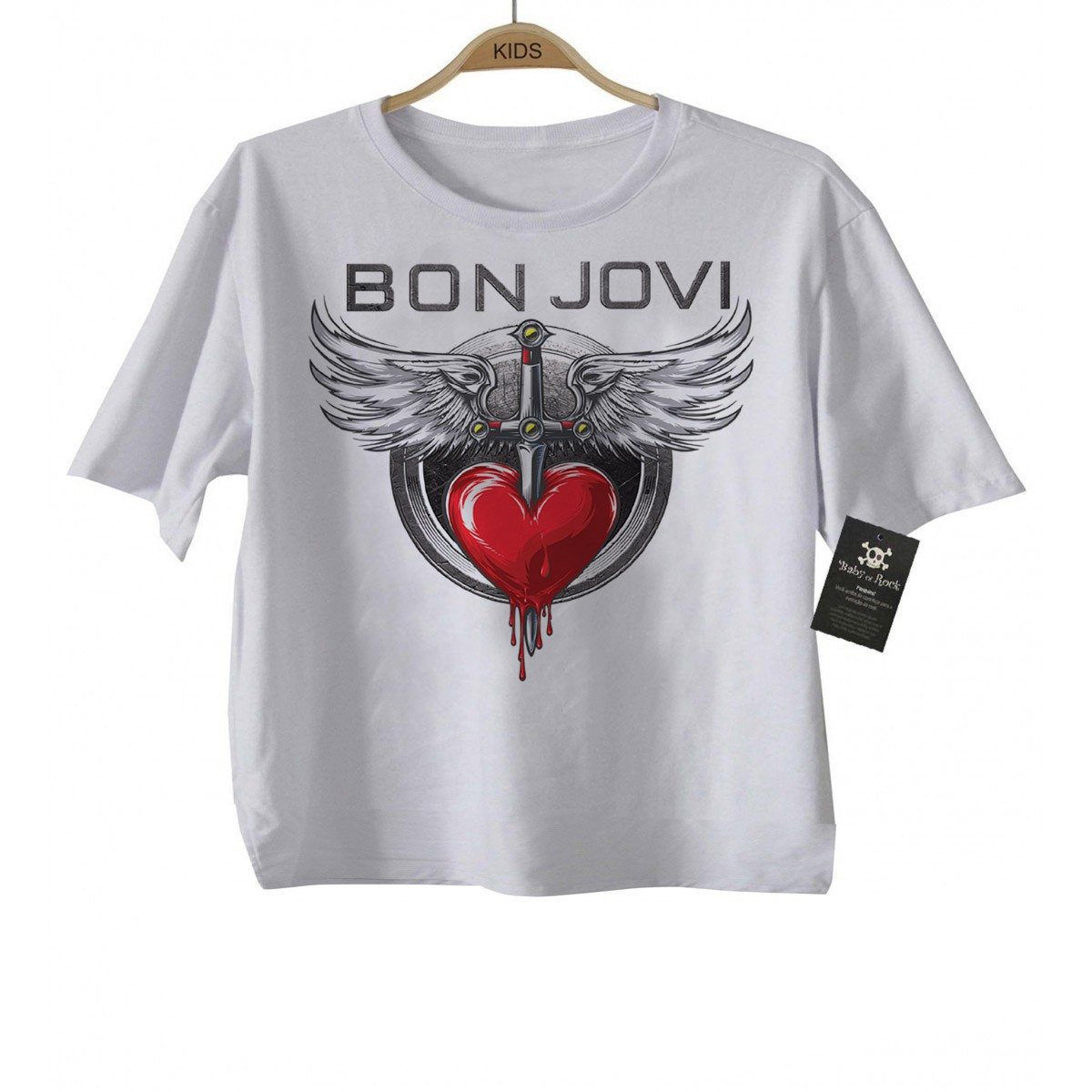 Camiseta de Rock Infantil -  Bon Jovi - White  - Baby Monster S/A