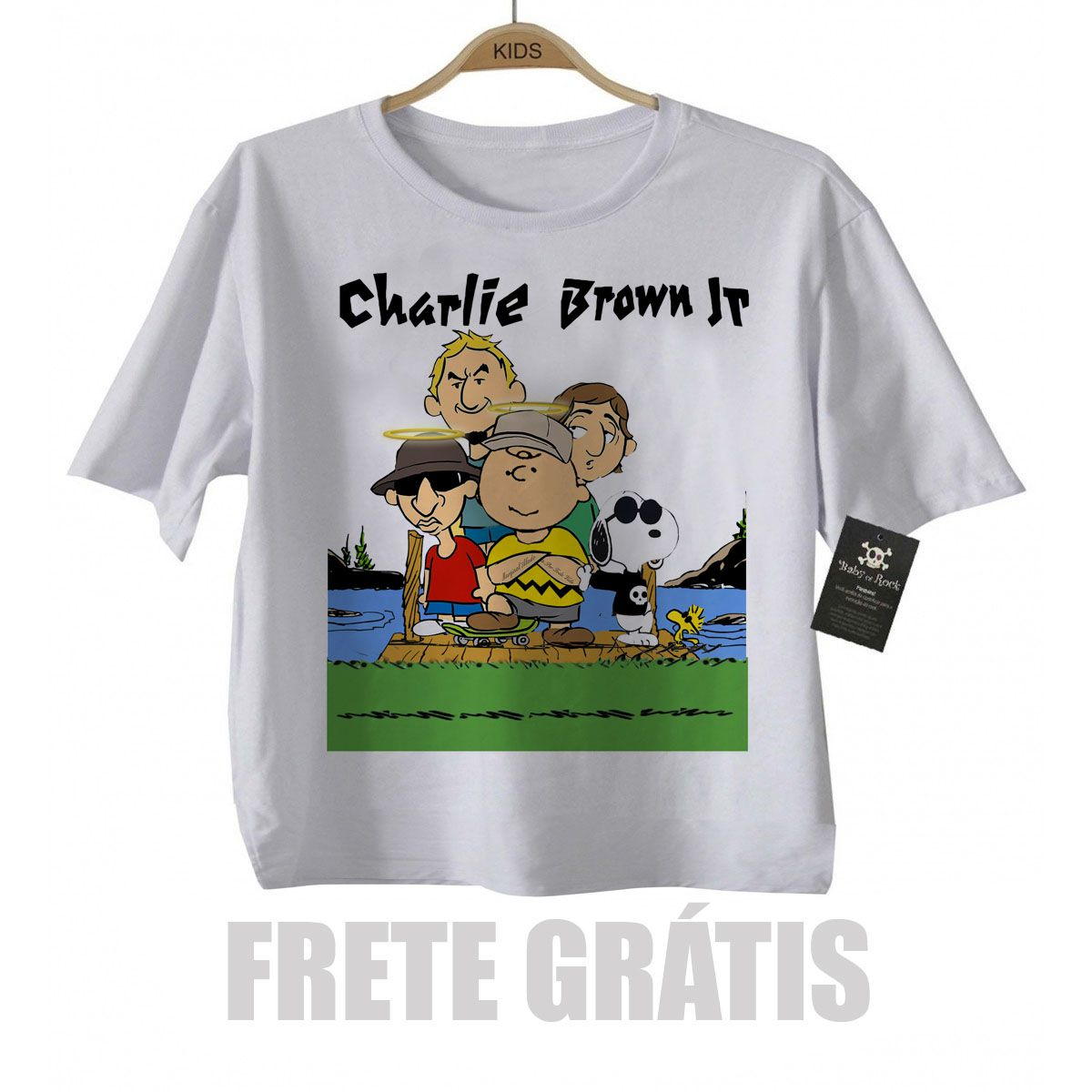 Camiseta de Rock Infantil  Charlie Brown JR  Snoppy - White  - Baby Monster S/A