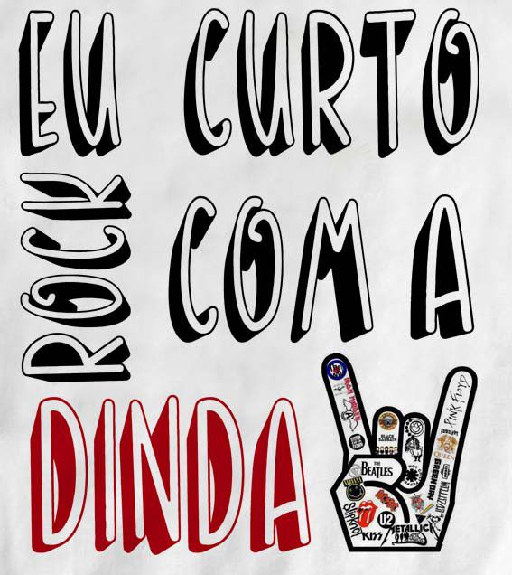 Camiseta de Rock Infantil -  Eu curto Rock com a dinda- White  - Baby Monster - Body Bebe