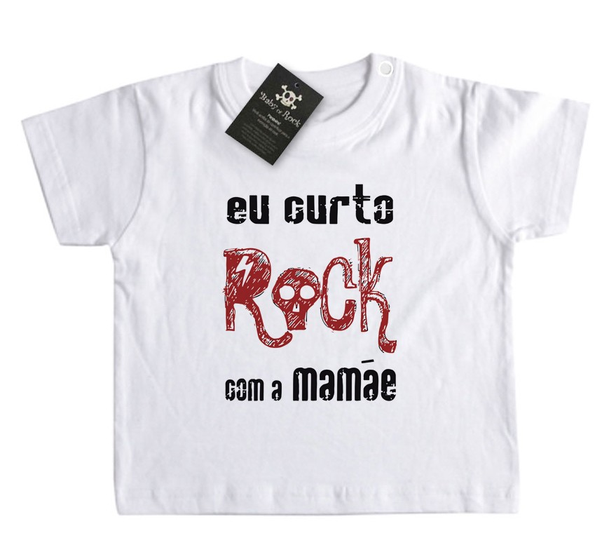 Camiseta de Rock Infantil -  Eu curto Rock com a Mamãe - White  - Baby Monster S/A