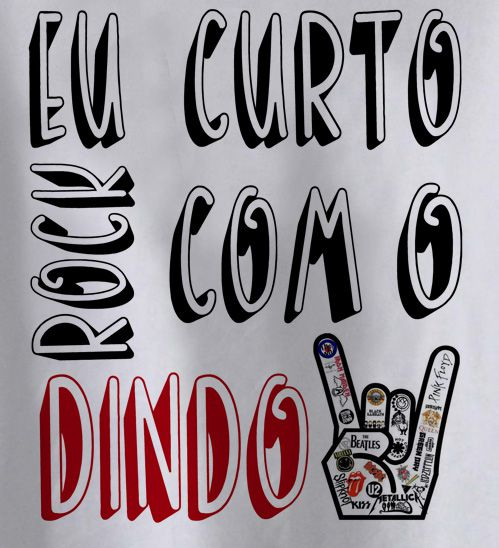Camiseta de Rock Infantil -  Eu curto Rock com o dindo - White  - Baby Monster - Body Bebe
