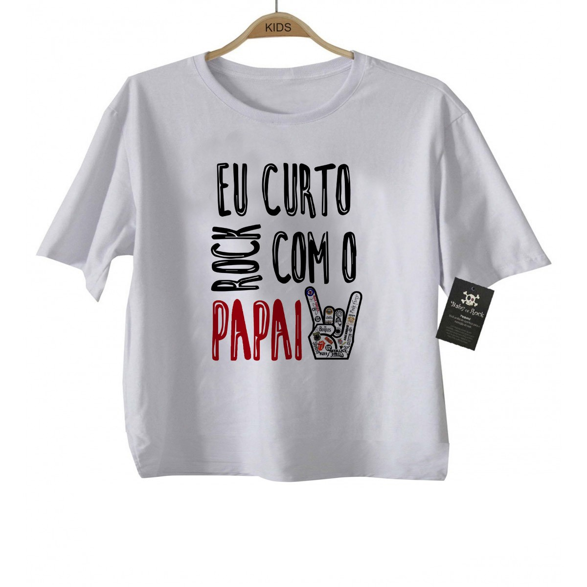 Camiseta de Rock Infantil -  Eu curto Rock com o papai - White  - Baby Monster S/A