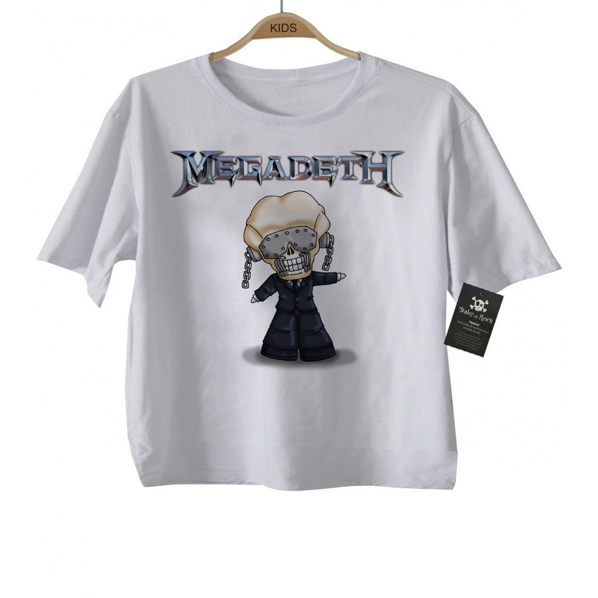 Camiseta de Rock Infantil -  Megadeth - White  - Baby Monster S/A