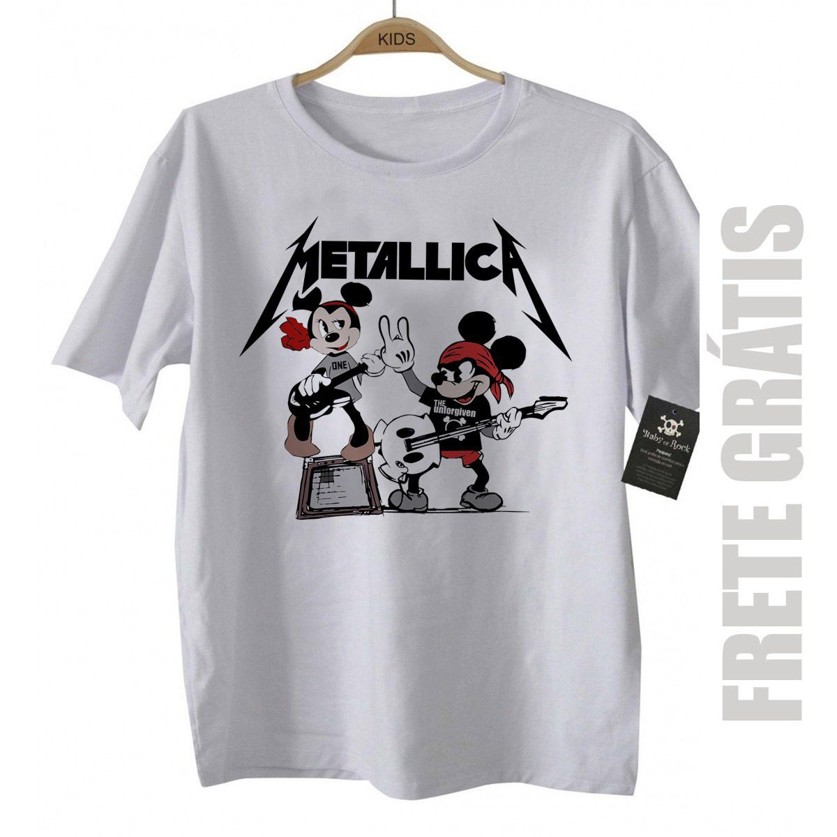 Camiseta de Rock Infantil - Metallica Mickey - White  - Baby Monster - Body Bebe