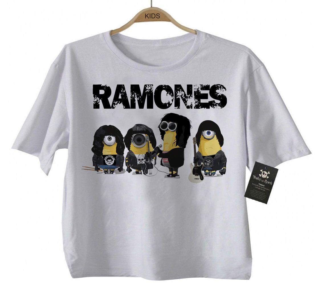 Camiseta de Rock Infantil - Ramones - Minions - White  - Baby Monster - Body Bebe