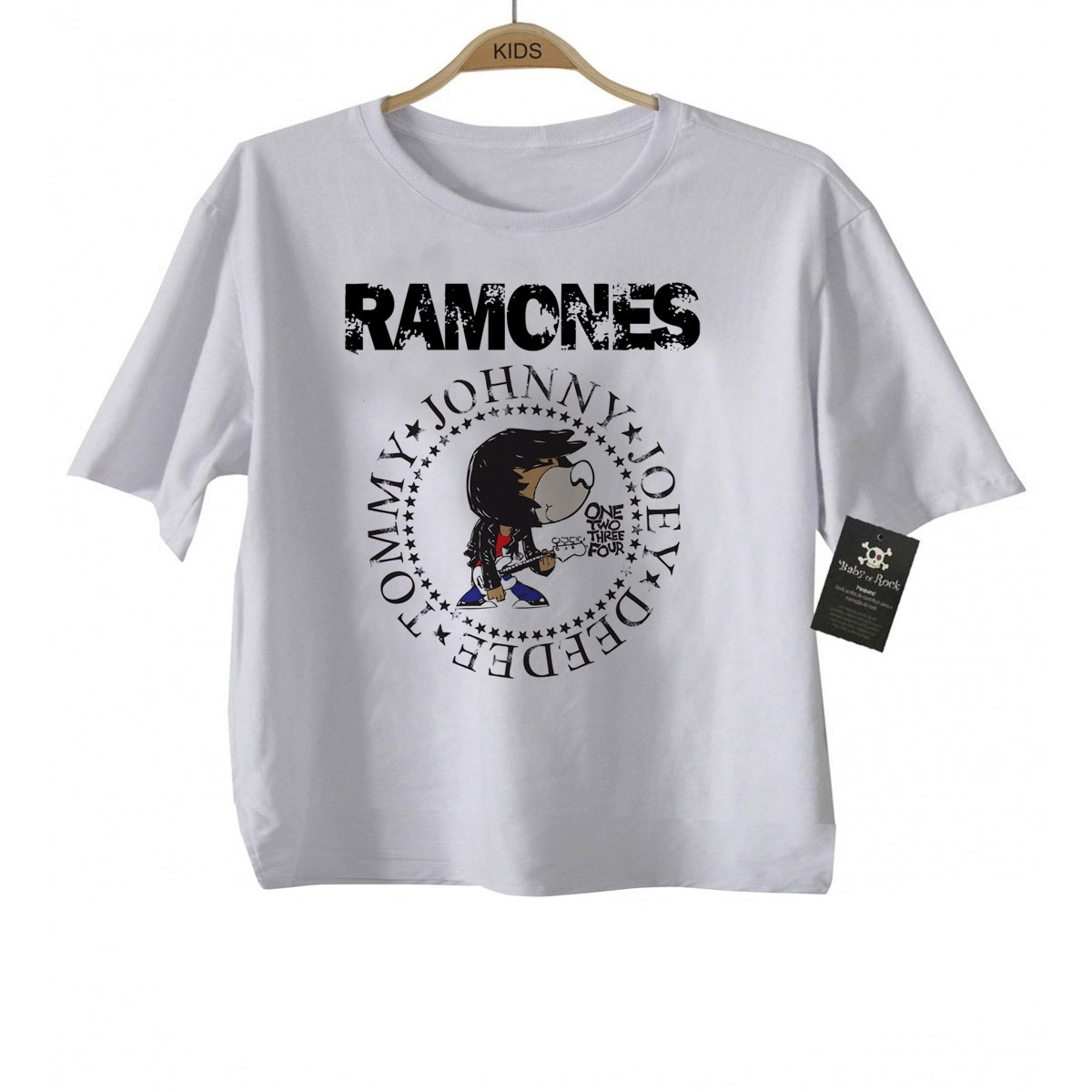 Camiseta de Rock Infantil - Ramones - White  - Baby Monster - Body Bebe