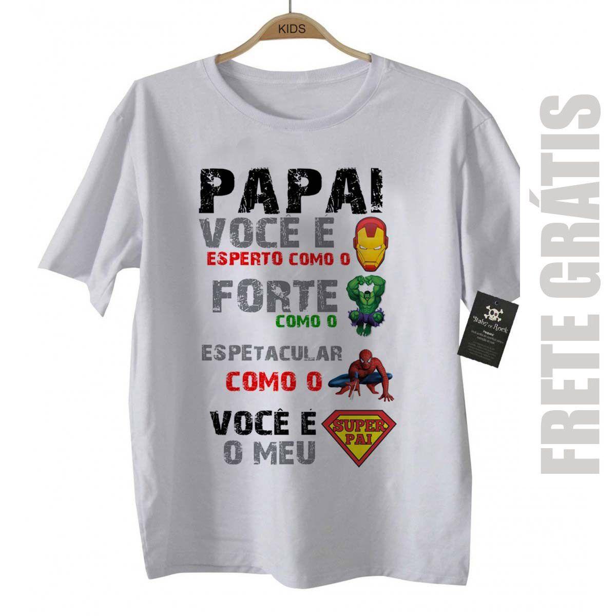 Camiseta de Rock Infantil - SUPER PAI - White  - Baby Monster S/A