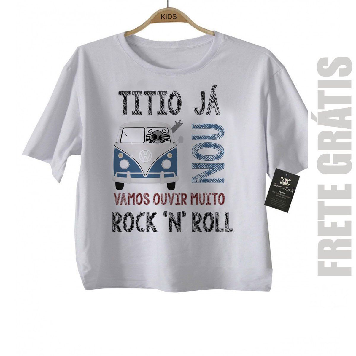 - Camiseta de Rock Infantil -  Titio já Kombinou - White  - Baby Monster S/A