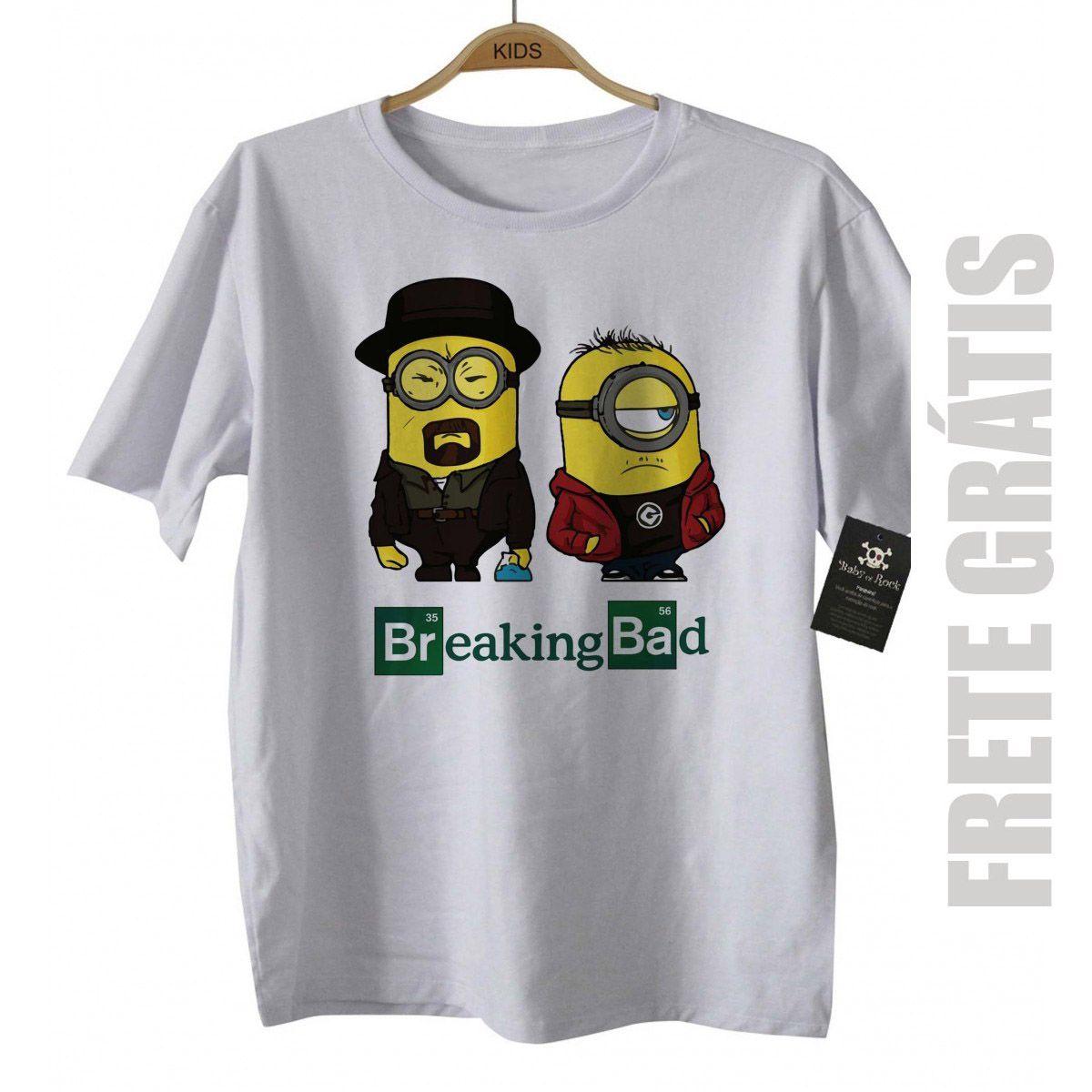 Camiseta de Série Infantil - Breaking Bad - Minions - White  - Baby Monster - Body Bebe