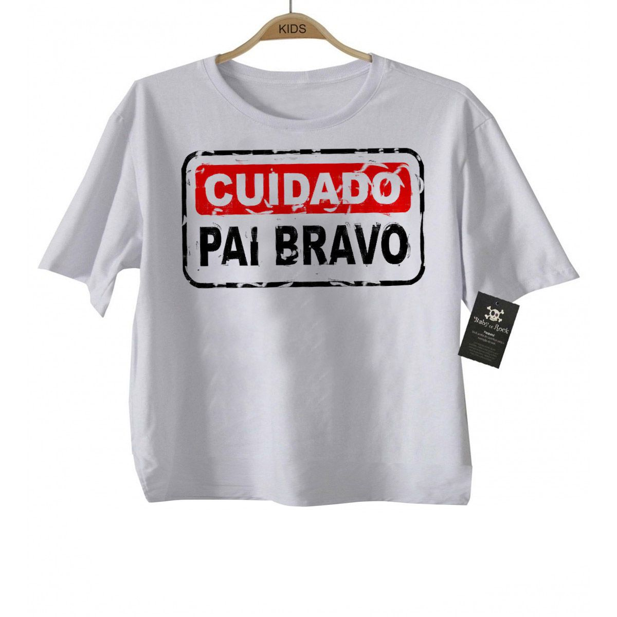 Camiseta Divertida  - Cuidado Pai Bravo- White  - Baby Monster - Body Bebe