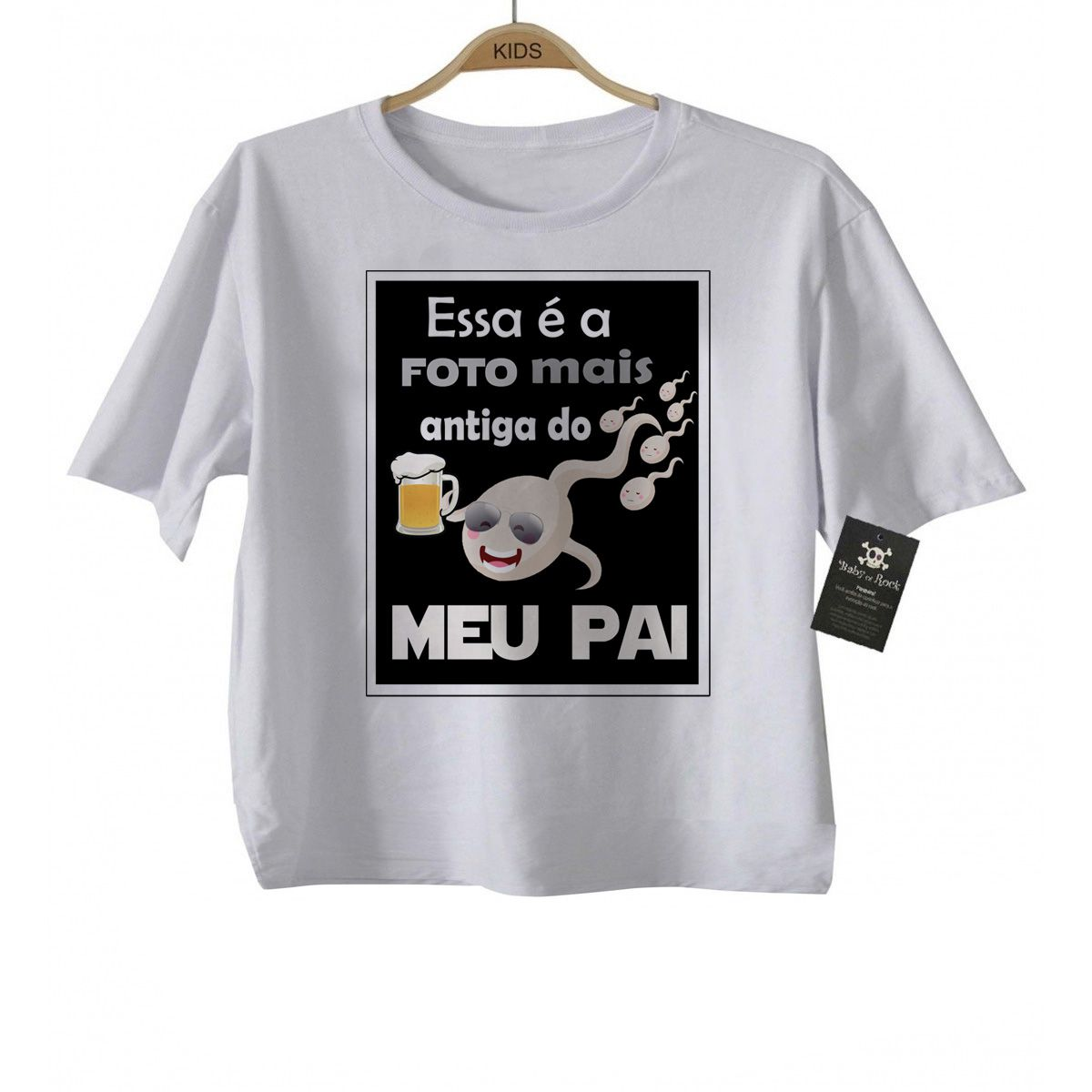 Camiseta  Divertida  Foto mais antiga do meu pai Infantil - White  - Baby Monster - Body Bebe