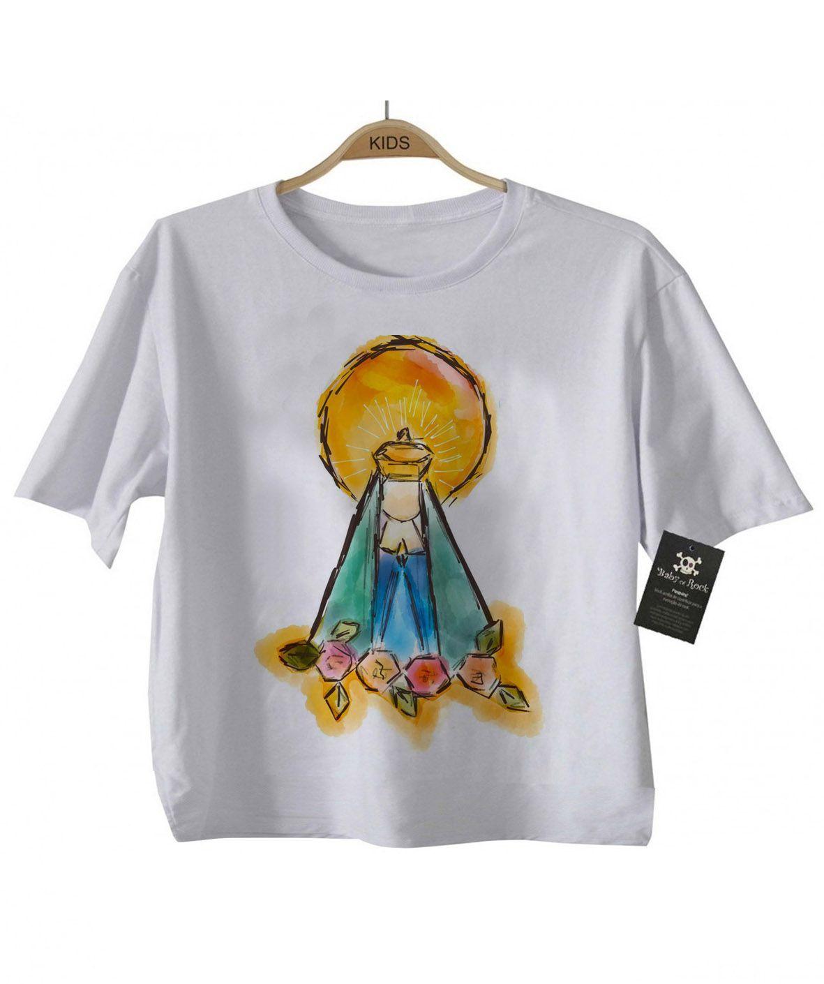 Camiseta Gospel  - Nossa Senhora Yellow - White  - Baby Monster S/A