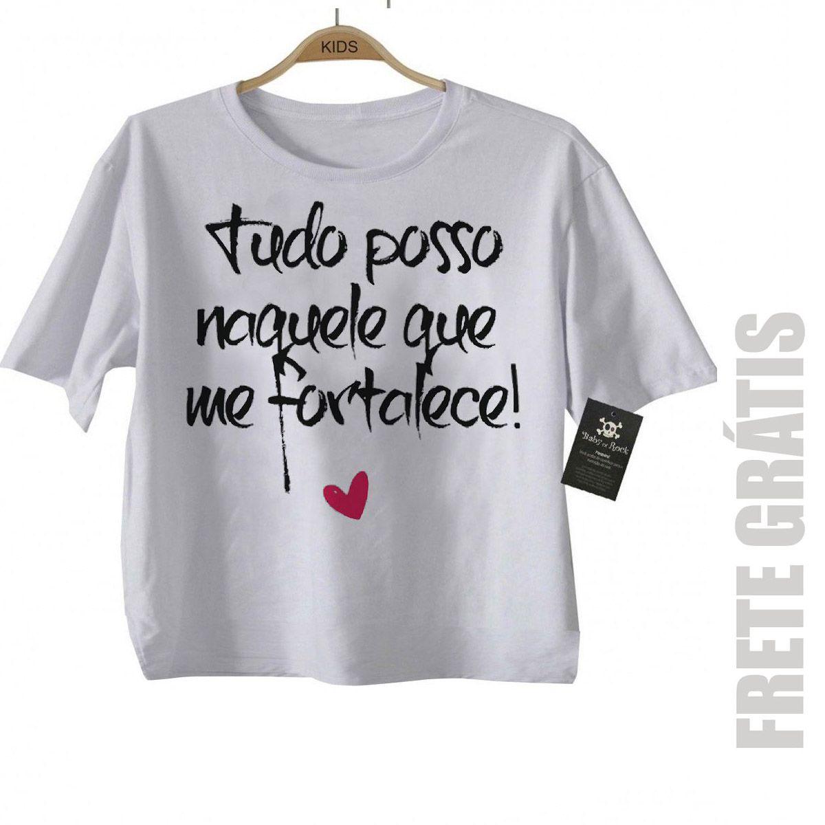 Camiseta  Gospel Tudo Posso - White  - Baby Monster S/A