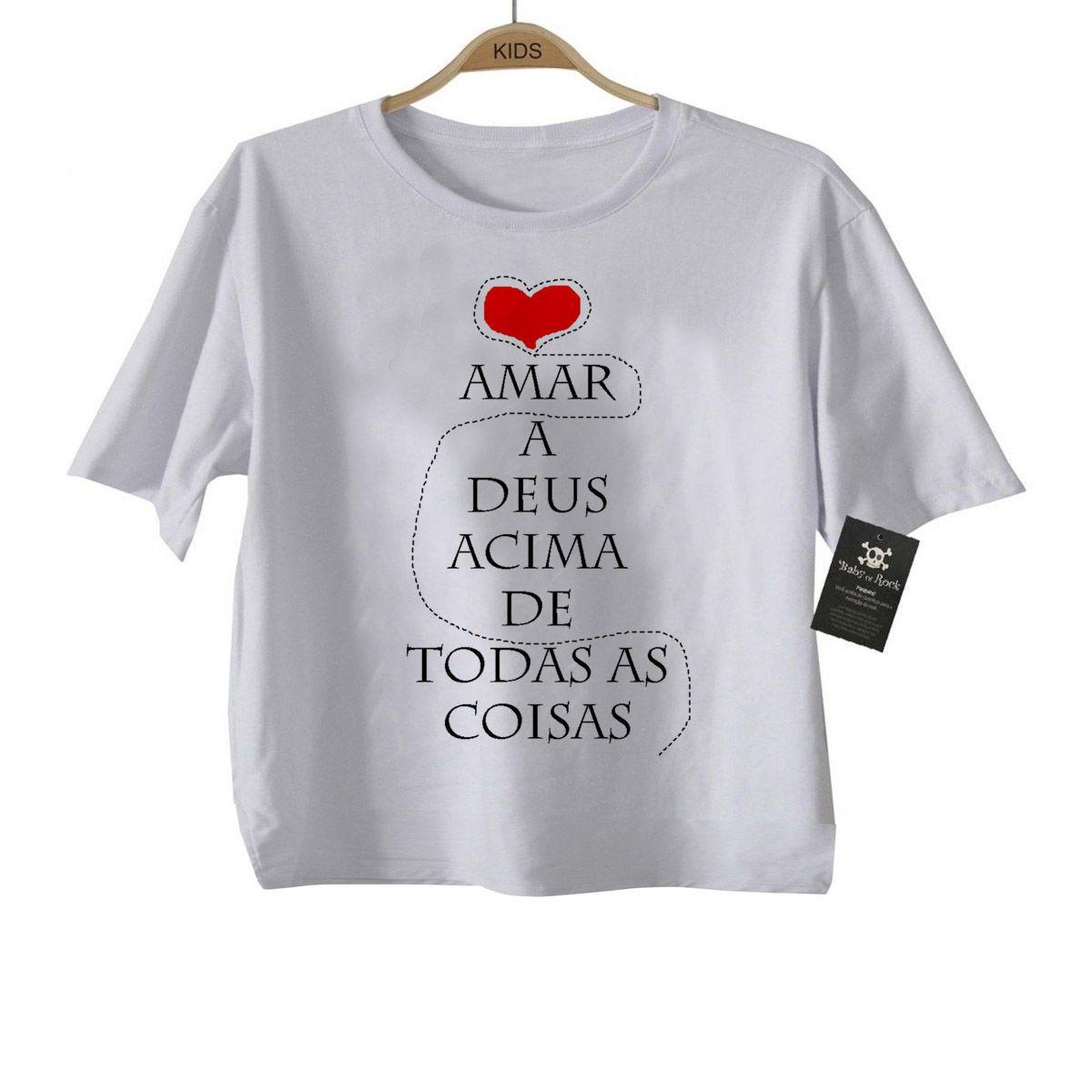 Camiseta Infantil  Amar a Deus Gospel - White  - Baby Monster S/A