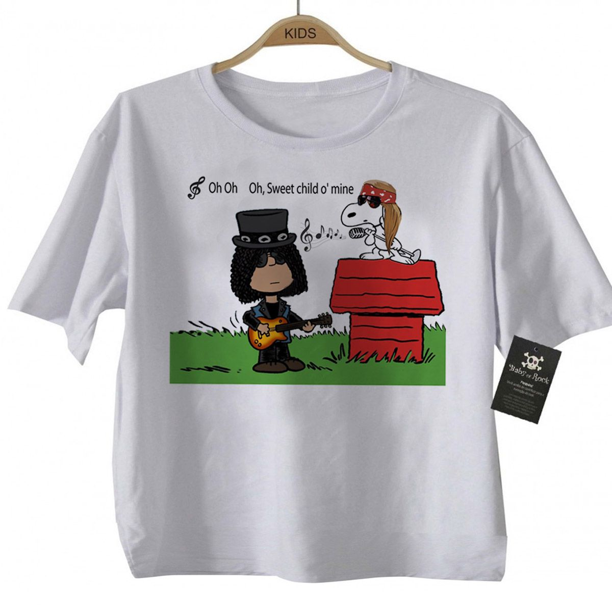 Camiseta Infantil Bebê Guns N Roses Snoopy - White  - Baby Monster S/A