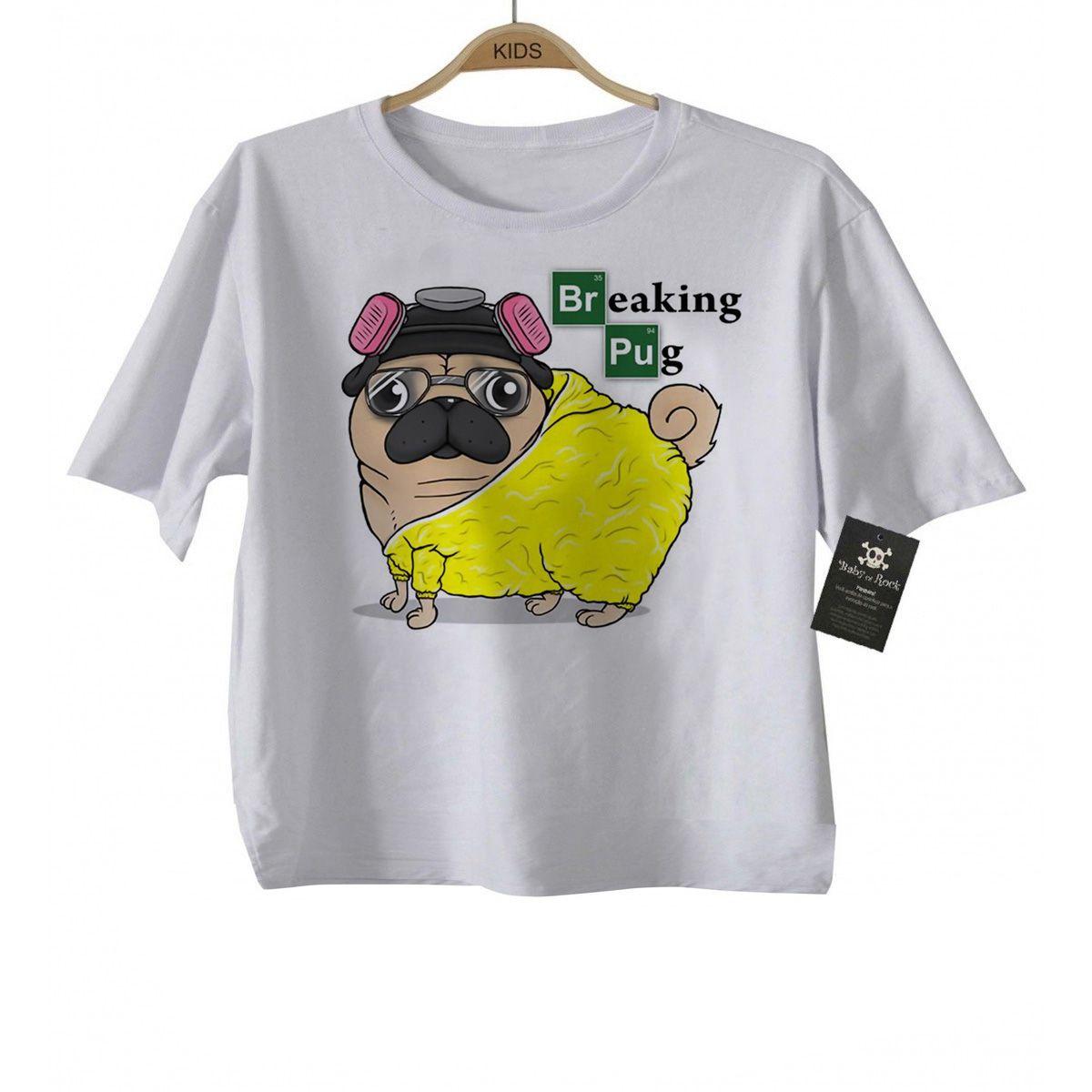 Camiseta Infantil  Breaking Pug -  Minons - White  - Baby Monster - Body Bebe
