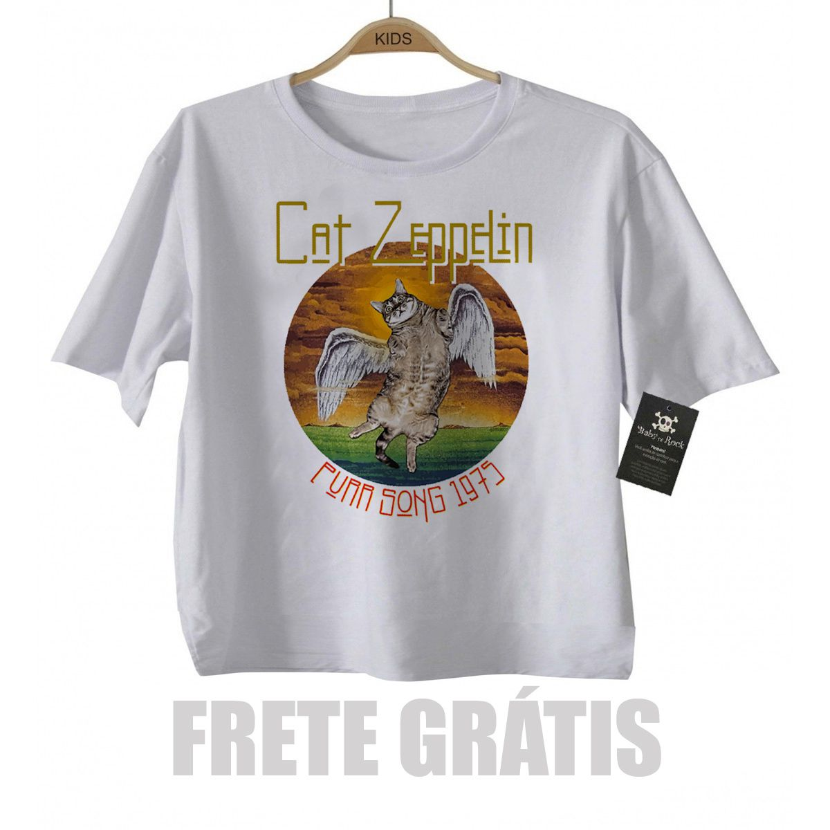 Camiseta infantil  Cat Zeppelin Cute - White  - Baby Monster S/A