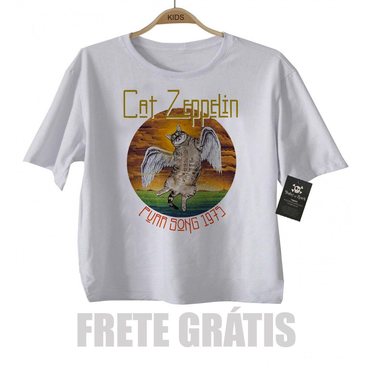 Camiseta infantil  Cat Zeppelin Cute - White  - Baby Monster - Body Bebe