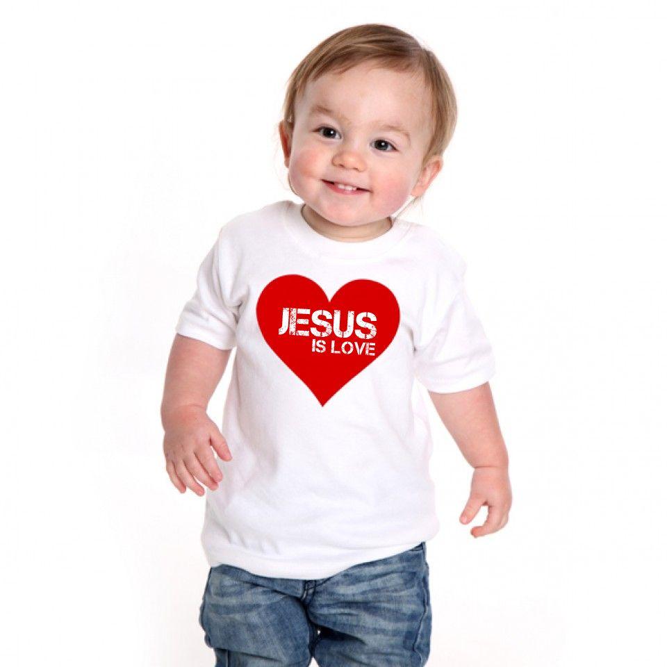 Camiseta Infantil  Cristã Jesus Heart  - White -  - Baby Monster S/A