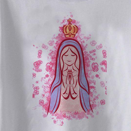 Camiseta Infantil Cristã Nossa Senhora FLowers- White   - Baby Monster S/A