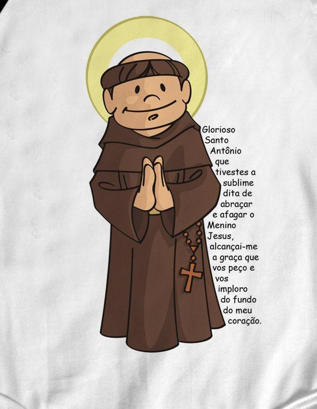 Camiseta Infantil Cristã Santo Antonio  - White -  - Baby Monster S/A