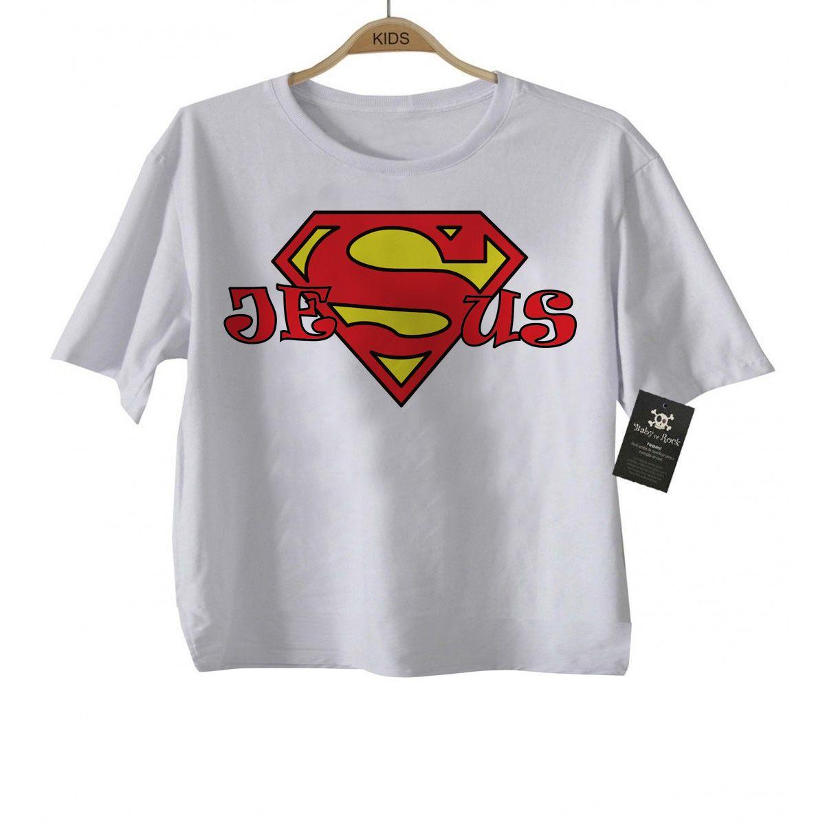 Camiseta Infantil  Cristã Super Jesus  - White -  - Baby Monster - Body Bebe