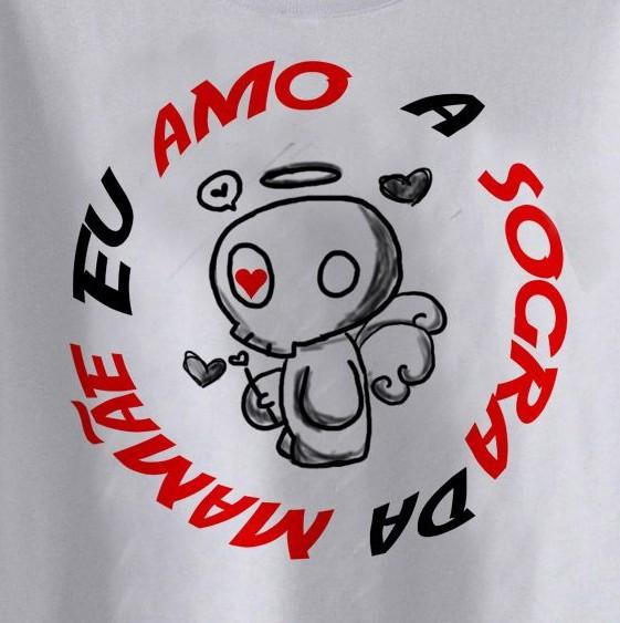 Camiseta Infantil Divertida - Amo a Sogra da Mamãei - White  - Baby Monster - Body Bebe
