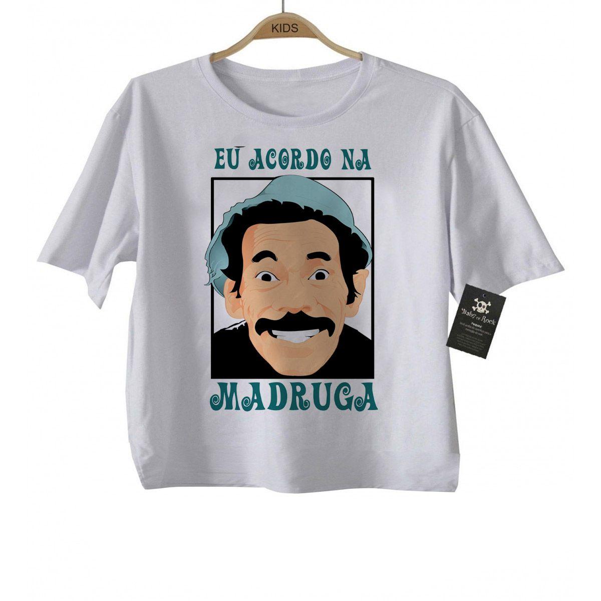 Camiseta  Infantil Divertida - Eu acordo na madruga - White  - Baby Monster S/A