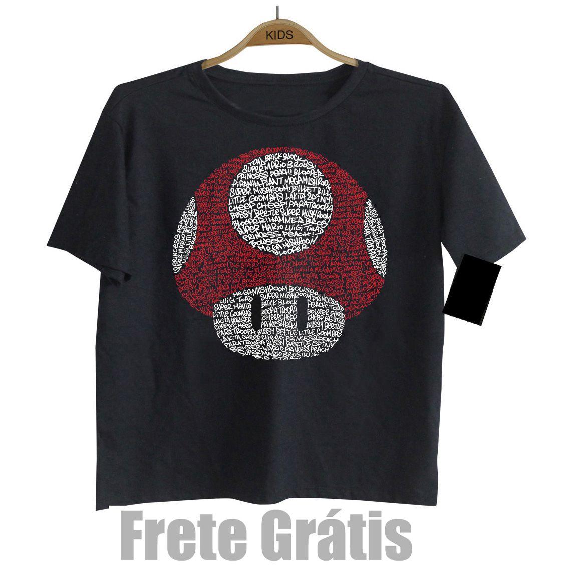 Camiseta Infantil Divertida Nerd Geek -  Mario Cogumelo - Black  - Baby Monster S/A