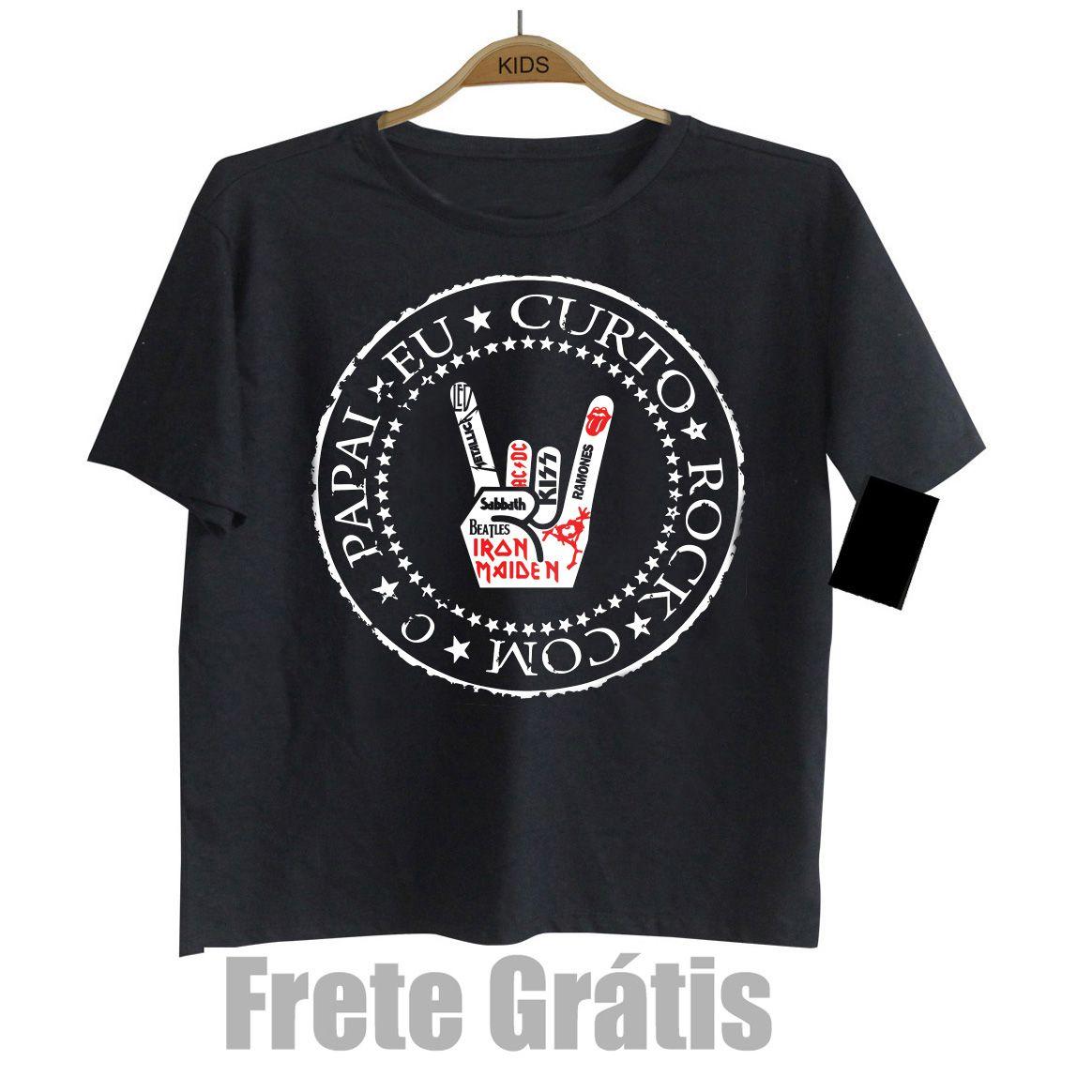 Camiseta Infantil Eu Curto Rock com o Papai - Black  - Baby Monster S/A