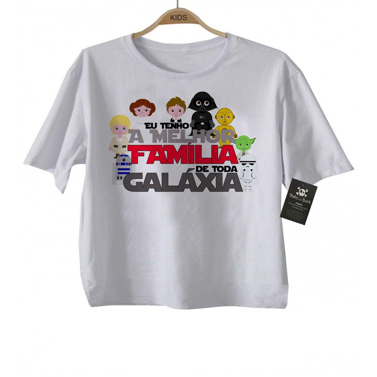 Camiseta Infantil eu Tenho a melhor Família de Toda Galáxia - White  - Baby Monster S/A