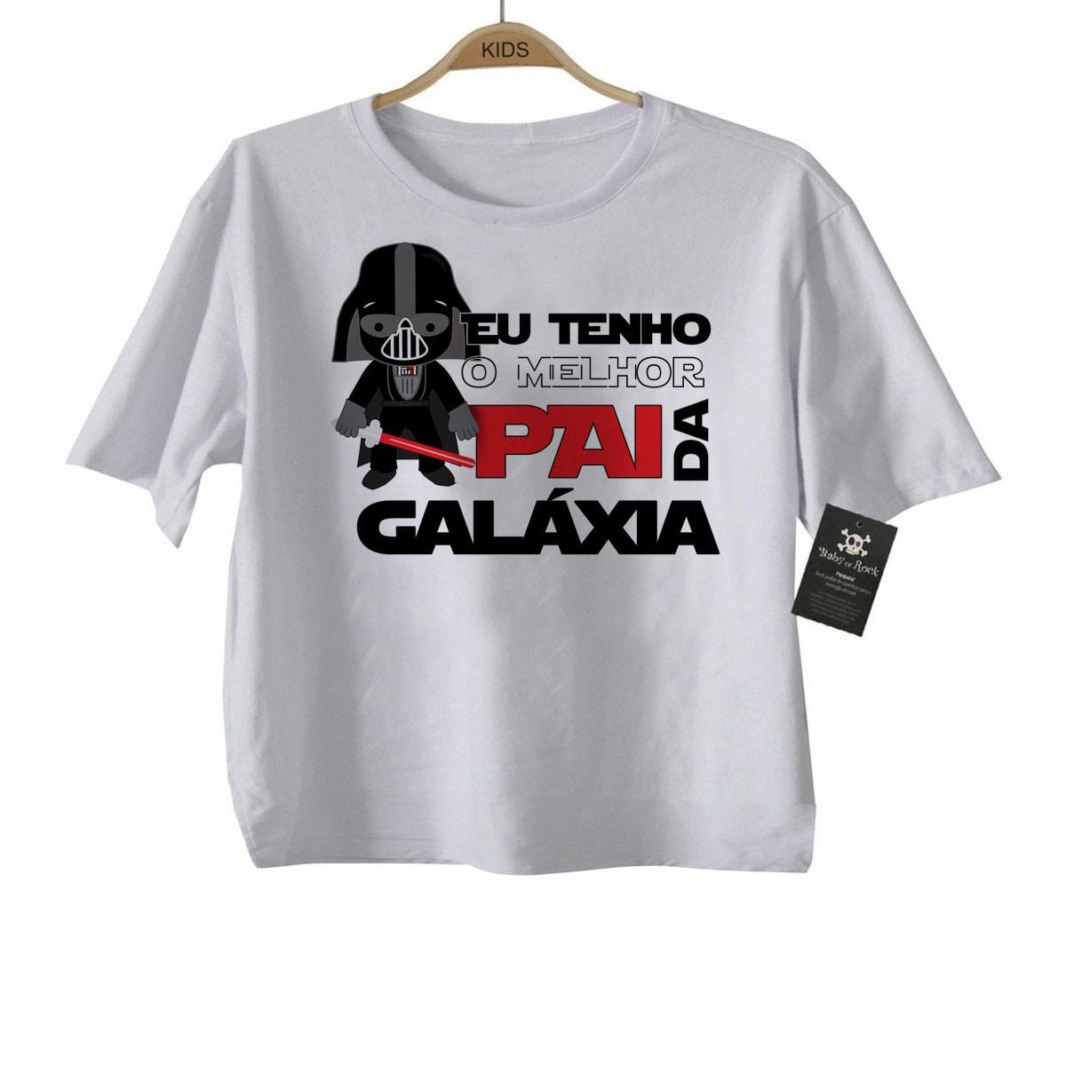 Camiseta  Infantil - Eu tenho o Melhor pai da Galáxia - White   - Baby Monster S/A