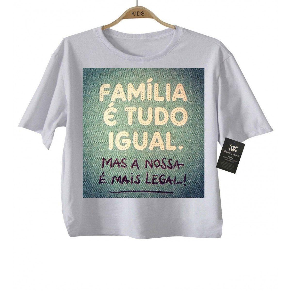 Camiseta  Infantil - Família tudo igual   - White  - Baby Monster - Body Bebe