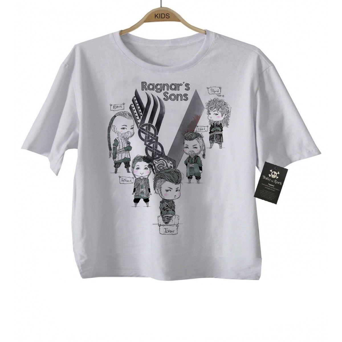Camiseta Infantil Filmes e Seriados  - VIKINGS  SONS-   White  - Baby Monster - Body Bebe