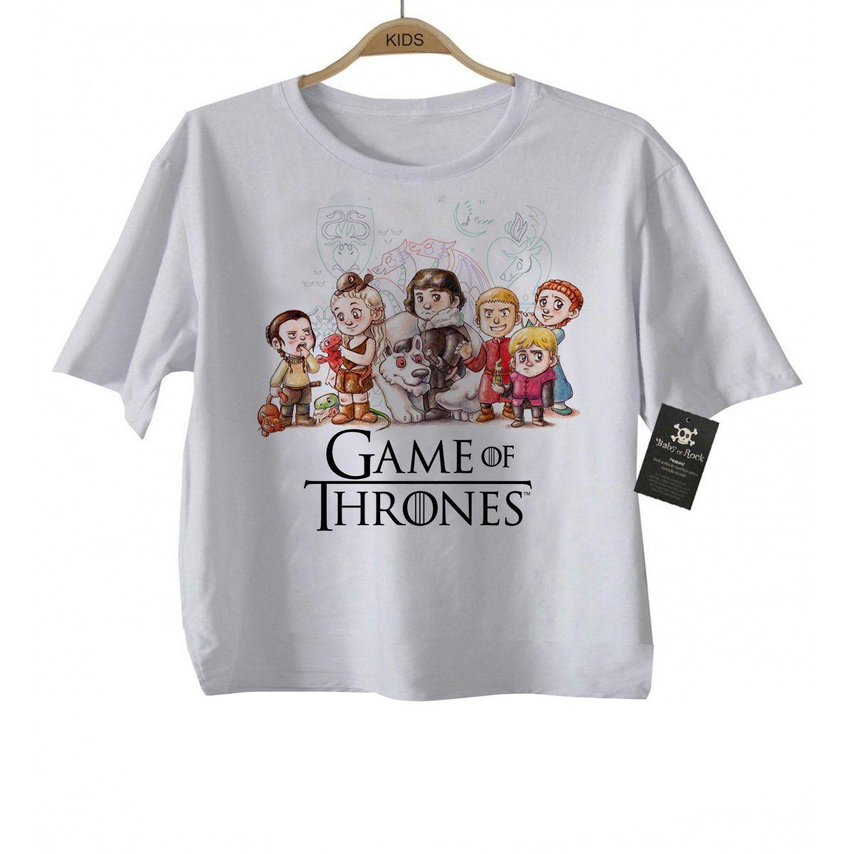 Camiseta Infantil- Filmes - Game of Thrones - Aquarela White  - Baby Monster S/A