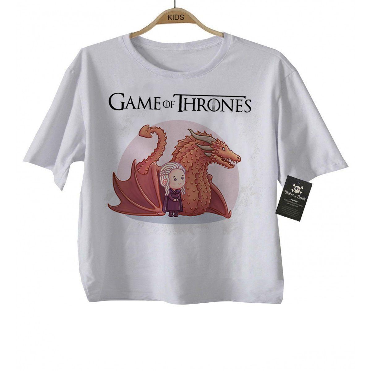 Camiseta Infantil  - Filmes - Game of Thrones - Daenerys White  - Baby Monster S/A