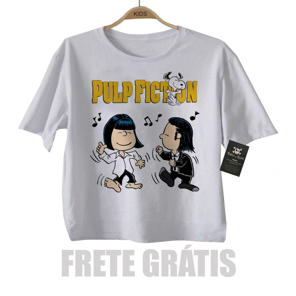 Camiseta infantil filmes Pulp Fiction - Snoopy  (Tarantino) - White  - Baby Monster S/A