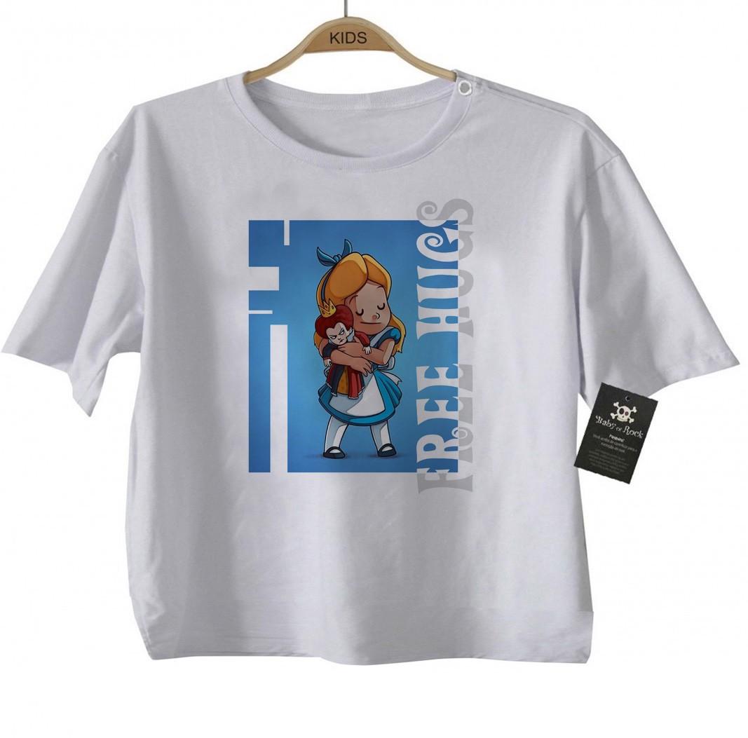 Camiseta Infantil  Free Hugs - Alice-  Abraço de Super Vilão - White  - Baby Monster - Body Bebe