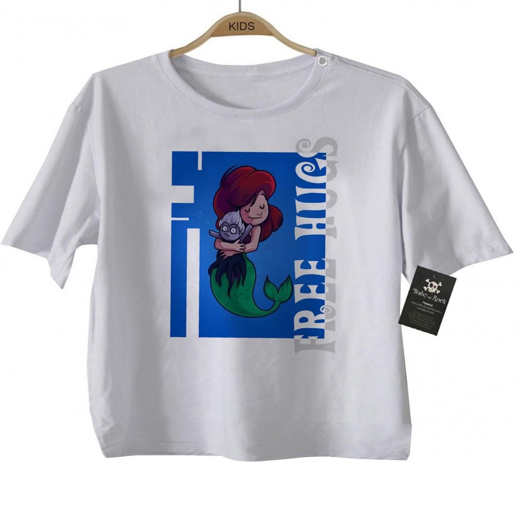 Camiseta Infantil  Free Hugs  Pequena Sereia -  Abraço de Super Vilão - White  - Baby Monster S/A